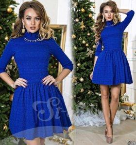 Платье синее расклешенное жаккард