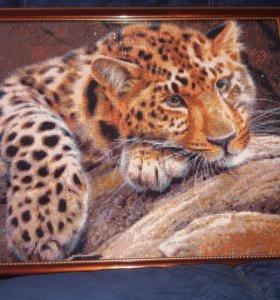 алмазная вышивка леопард