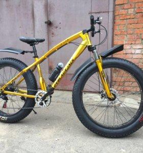 Велосипед fat bike золотой