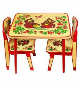 стол и стул хохлома