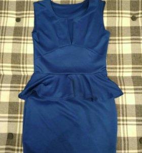 Платье вечернее, синее, атласное, черное