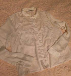 Шелковая белая рубашка блузка