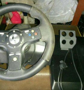 Руль, педали, 2 джойста все провода для х вох 360