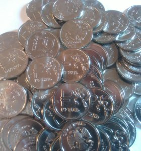Монета с графическим изображением рубля