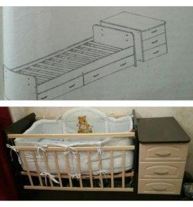 Кровать маятник, разбирается на односпальную