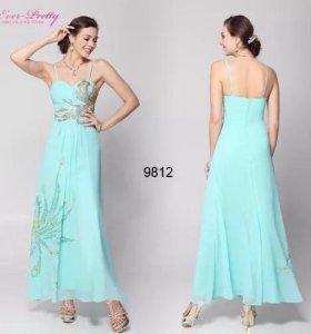 Бирюзовое Платье с красивой вышивкой 🌷42-44 НОВОЕ
