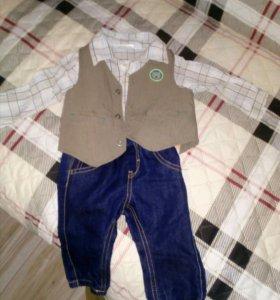 Костюм детский- боди - рубашка, жилетка, джинсы