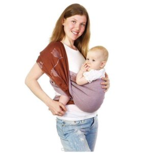 """Слинг-шарф Mum's Era """"Совы"""", фиолетовый/коричневый"""