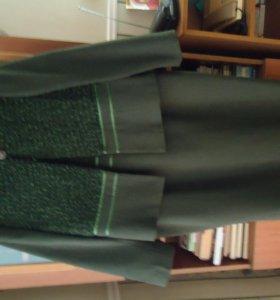 комплект сарафан+жакет и жакет +юбка серого цвета