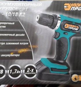Шуруповерт Энергопром ДА-10/18 К2, 18 В. 2 аккумул