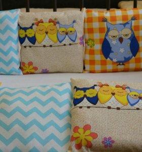 Бортики подушки в кроватку + простынь на резинке