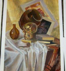 """Картина """"золотой череп"""""""