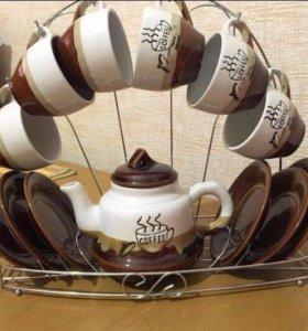 Набор посуды с подставкой (кофейный)