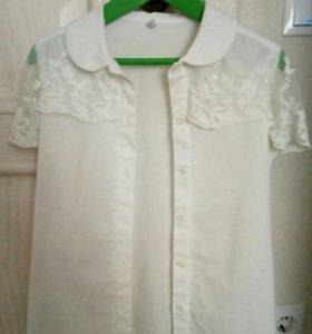 Школьная рубашка с кружевом