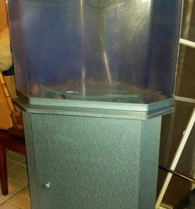 Угловой аквариум 100 л с тумбой