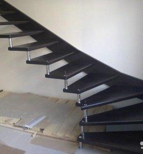 Лестницы, изделия из дерева и нержавейки, алюминия