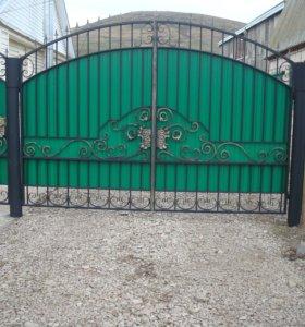Ворота кованные с калиткой