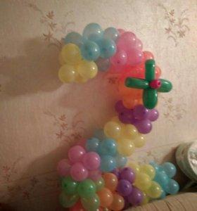 Цифра из шаров на день рождения.