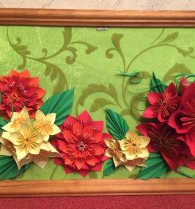 Картина из бумажных цветов