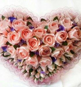 """Большой букет """"Сердце"""" с розами"""