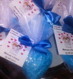 Свадебные бонбоньерки мыло ручной работы подарки