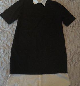 Платье чёрное с белой вставкой