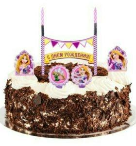 Праздничный набор для торта Свечи Принцесса Рапунц