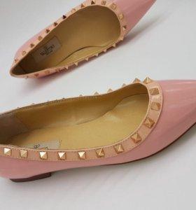 Valentino новые туфли балетки кожаные