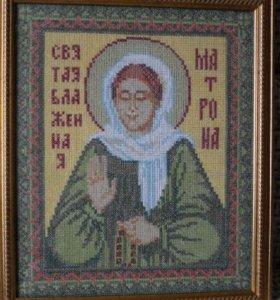 Икона Святой Матроны (вышивка крестом)