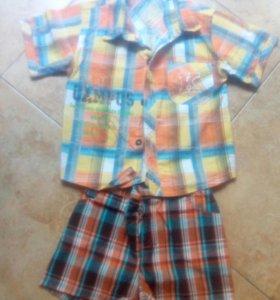 Новые фирменные шорты и рубашка