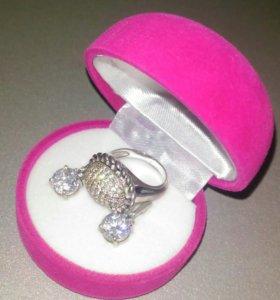 Серьги и перстень серебро