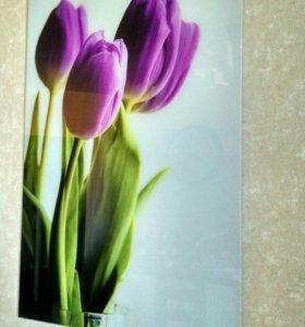 Картина тюльпаны стекло