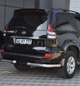 Защита заднего бампера Prado120, уголки (хром)