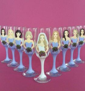Свадебные бокалы с росписью (девичник)