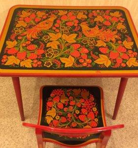 Стол детский, роспись хохлома