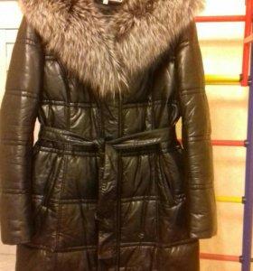 демисезонное пальто экокожа