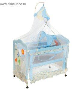 Кроватка с люлькой, балдахином и пеленальным стол