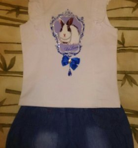 Комплект для модницы: юбка-шорты + топ