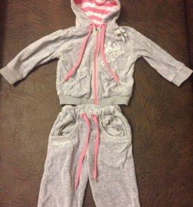 Велюровый спортивный костюм 3-6 месяцев