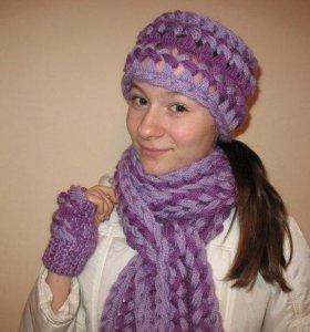 Вязаный комплект шарф+повязка+митенки