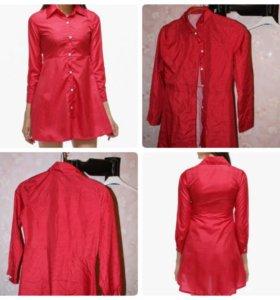 Платье рубашка красное в горошек новое