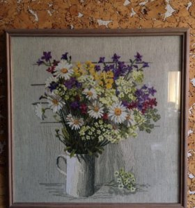 """Картина-вышивка """"Букет полевых цветов"""""""