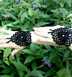 Ажурный черный комплект митенки на руки и ноги