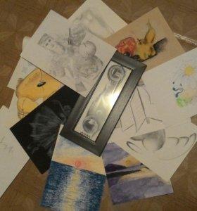 Рисунки, плакаты ручной работы.