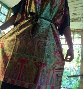 Шелковый домашний халат