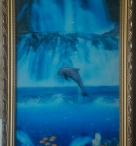 Картина со звуками птиц и льющимся водопадом!