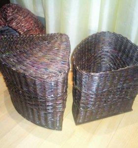 Коробочки для хранения , плетёные , угловые.
