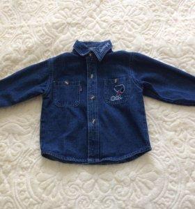 Джинсовая рубашечка на 2-3 годика