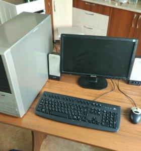 Компьютер в сборе, монитор Philips широкий 19, HDD