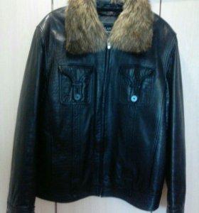 Куртка кожаная осень-зима-весна мужская